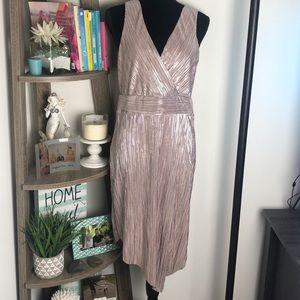 Venus Silvery Nude Metallic Dress